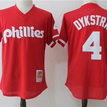 ONETOW Mitchell & Ness Lenny Dykstra Philadelphia Phillies Cooperstown Collection Mesh Batting Practice Jersey - Red