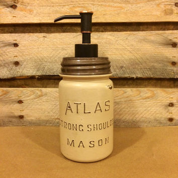 Mason Jar Soap Dispenser, Vintage Beige Mason jar, Rustic Beige Soap Dispenser, Distressed Beige Mason Jar, Vintage Atlas Strong Shoulder