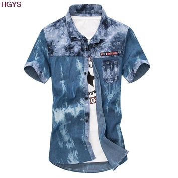 new men's denim shirts with short sleeves size mlxl