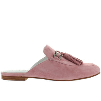 Jeffrey Campbell Apfel - Blush Pink Suede Tassel Slide Loafer