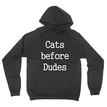 Cats before dudes  funny workout trendy cat pet lover graphic hoodie