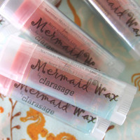 Clarasage Mermaid Wax  Lip Balm with Mango Butter and Natural Mango Coconut Flavor - 98% Organic