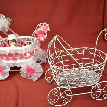 Wire Baby Carriage Centerpiece