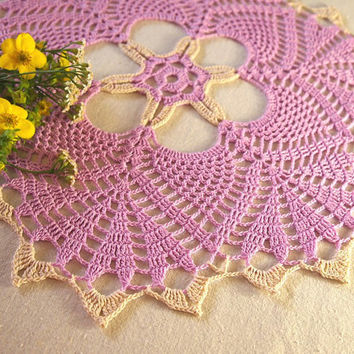 AVAILABLE 1 pc; Purple crochet doily with expressive pattern; Cottage chic crochet doily; Crochet tablecloth; Crochet centerpiece