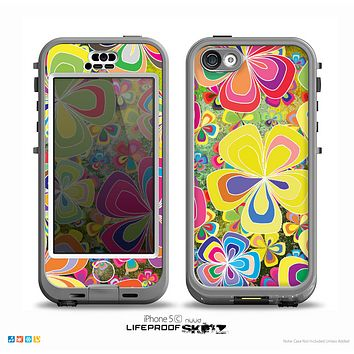 The Fun Colored Vector Flower Petals Skin for the iPhone 5c nüüd LifeProof Case