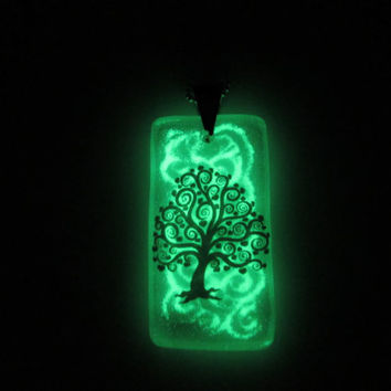 Glow in the Dark Glass Necklace - Spiral Tree No. 5