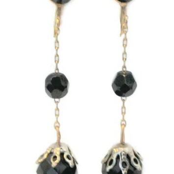 Faceted Black Bead Long Dangle Earrings, Set in Gold Tone, Screw Back