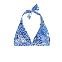 Women's Beach Club Trimmed Halter Bikini Top - Ratti Floral from Lands' End