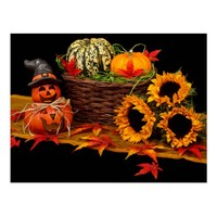 Halloween harvest postcard