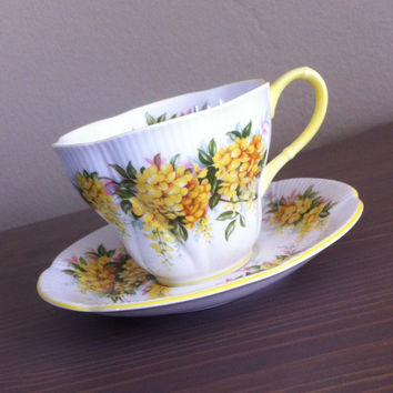 Royal Albert Blossom Time Series tea cup and saucer, Laburnum Pattern bone china tea set, English floral teacup