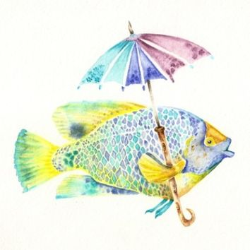 Fishy Fish - Original Watercolor of Yellow Mask Angel Fish with Umbrella Art Print by Goosi | Society6