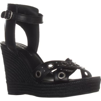 Lucky Brand Leander Wedge Sandals, Black Leather, 8 US