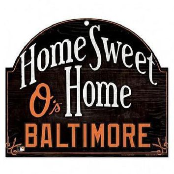 "BALTIMORE ORIOLES HOME SWEET HOME ARCHED WOOD SIGN 10""x11"" BRAND NEW WINCRAFT"
