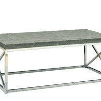 Dark Taupe Reclaimed-Look / Chrome Metal Cocktail Table