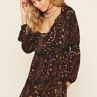 Tiered Floral Print Shift Dress