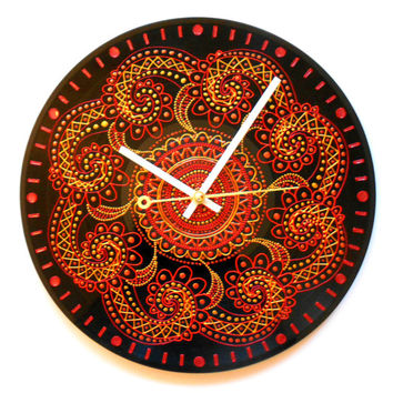 Round Clock Kitchen Clock Art Clock Orange Clock Vinyl Clock Hand Painted Clock Record Clock Dot Painting Wall Clock Unique Clock Home Décor