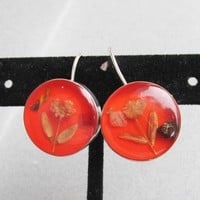 Taxco Mexico Sterling Silver Dried Flowers in Orange Lucite Vintage Pierced Earrings