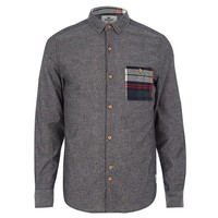 Grey and Plaid Pocket Button-Up Shirt