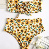 2018 Women Sexy Strapless High Rise Sunflower Swimsuit Floral Printed Bikini Set Swimwer Bathing Suit maillot de bain femme