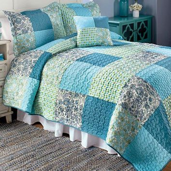 Patchwork Quilt Bedding Full Queen King Blue Green Floral Polka Dot Checkered