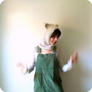 crochet hooded cowl with animal ears. wolf hat. cat hat. one size