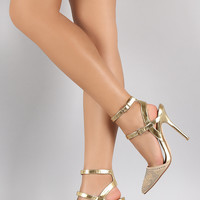 Jenni Rivera Metallic Rhinestone Pointy Toe Ankle Strap Stiletto Pump