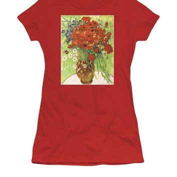 Vincent Van Gogh Poppies With Daisies - Women's T-Shirt (Athletic Fit)