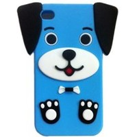 Cute 3D Cartoon Dog Puppy Silicone Case Cover Skin for iPhone 4 4S Blue