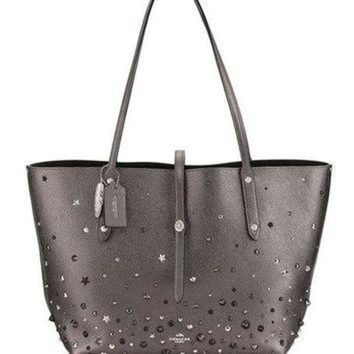 ONETOW Coach Market Studded Leather Tote Bag, Metallic Graphite