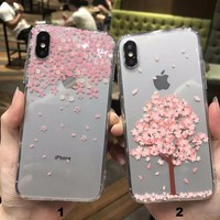 Transparent printing Flower tree mobile phone case for iPhone X 7 7plus 8 8plus iPhone6 6s plus -171121