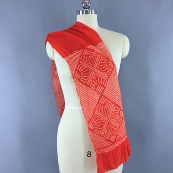 Vintage 1960s Silk Scarf / Silk Kimono Obiage / Silk Chiffon Wrap Sash Obi / Spring Summer Scarf / Dark Orange-Red & White Art Deco Shibori