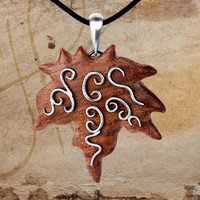 Armenian Walnut Grape Leaf Wooden Leaf With Sterling Silver Veins Effective Wooden Jewelry Wood Jewellery Silver Necklace Silver Jewelry