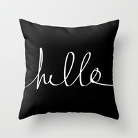 Hello Throw Pillow by Leah Flores