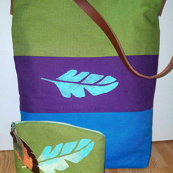 Bohemian style | Purple, green, blue linen Tote bag | Leaf | Festival accessorie | Sister gift | Boho birthday gift for her |Boho wedding