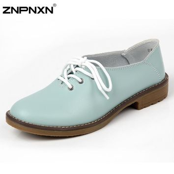 Women Shoes Genuine Leather Oxford Shoes For Women Flats Shoes Woman Moccasins Ballet