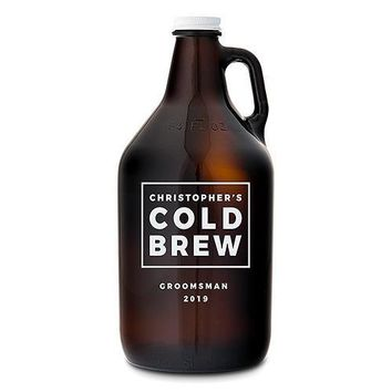 Personalized Amber Glass Beer Growler - Cold Brew Print (Pack of 1)