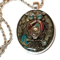 Steampunk Owl Pendant, One of a Kind Owl Necklace with Watch Parts