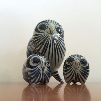 Vintage Tonala Owls -- Set of 3