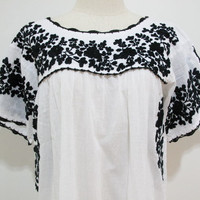 Mexican Embroidered Dress Crochet Sleeves in White by chokethai