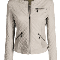 LE3NO Womens Round Neck Quilted Faux Leather Moto Jacket with Side Stretch Panel