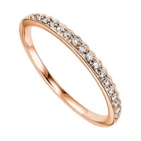10K Rose Gold .12cttw Bead Set Contoured Diamond Stackable Ring