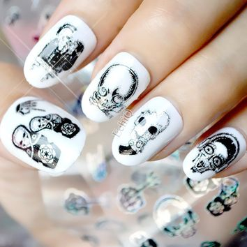Punk Style Zombie Love Skull Nail Foil Manicure Halloween Decoration Nail Art Transfer Sticker Holographic Starry Paper Decals