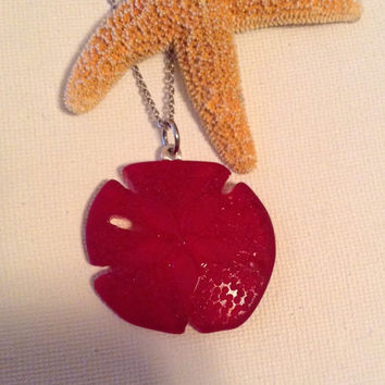 Red sea glass sand dollar, CLOSEOUT SALE, sand dollar, beach lovers, beach wedding, bridesmaids, mermaids, gift for her, seaglass