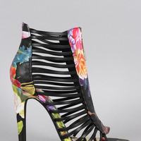 Liliana Floral Zipper Caged Open Toe Heel