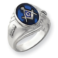 14k White Gold Mens Masonic Ring