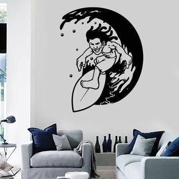 Wall Stickers Vinyl Decal Surfing Surfer Waves Ocean Water Sport  (z1985)