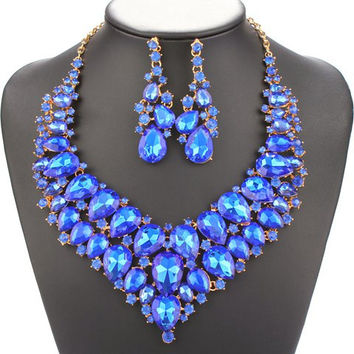 Blue Water Drop Necklace and Earrings