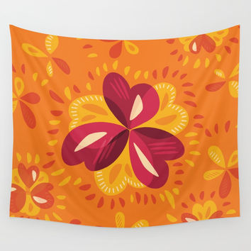 Orange And Pink Clover Abstract Floral Wall Tapestry by borianagiormova