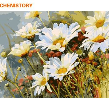 CHENISTORY White Chrysanthemum Flower DIY Digital Painting By Numbers Hand Painted Oil Painting On Canvas Unique Gift Home Decor