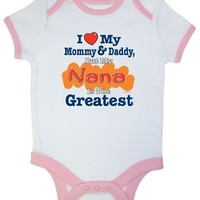 So Relative! I Love Mommy  Daddy But My Nana Is The Greatest Pink Ringer Baby Infant Short Sleeve Bodysuit Creeper